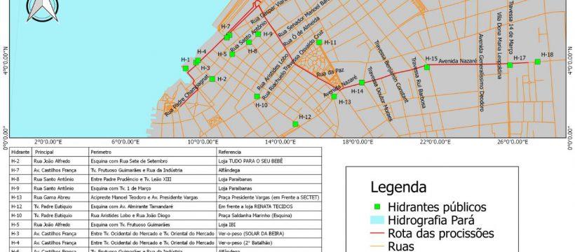 Mapeamento de Hidrantes na rota da procissão do Círio