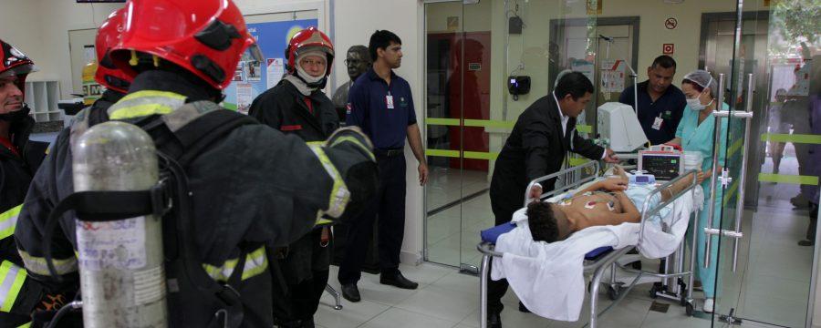 Bombeiros realizam simulação e treinamento para funcionários do Hospital Oncológico Infantil