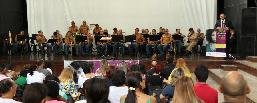 Banda de Música do CBMPA participou da Campanha de Enfrentamento à violência contra a Mulher
